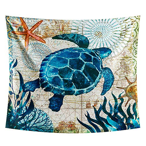 INTHouse Turtle Tapestry Wall Hanging Sea Turtle Decor Blue Ocean Tapestry Psychedelic Tapestry Marine Life Tapestry Dorm Decor Trippy Wall Tapestry for Bedroom