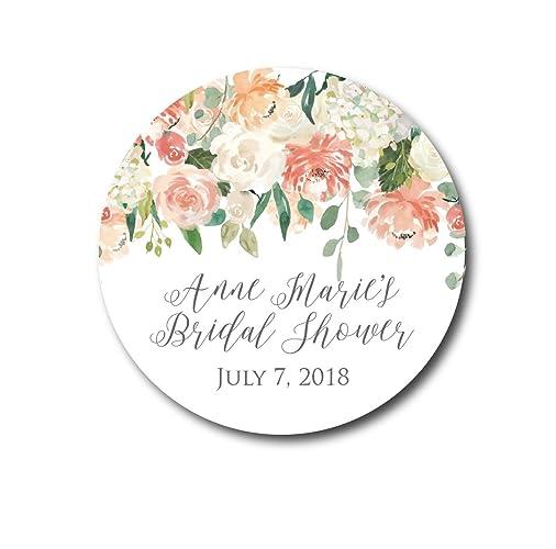 blush flowers bridal shower stickers