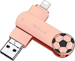 USB Flash Drive 128G for iPhone Photo Stick Flash Drive 3in1 USB3.0 for iPad Thumb Drive External Storage Memory Stick Richwell Compatible iPhone iPad Mac Android and Computer (Pink128G-YT)