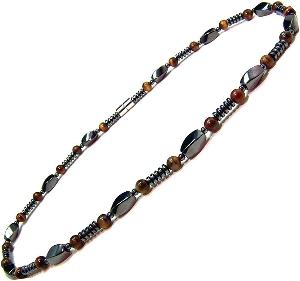 Accents Kingdom Men's Magnetic Hematite Tiger's Eye Bead Necklace
