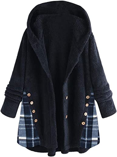 Chaquetas a Medida para Mujer con Capucha de Manga Larga a Cuadros cálido Abrigo de Invierno: Amazon.es: Ropa y accesorios