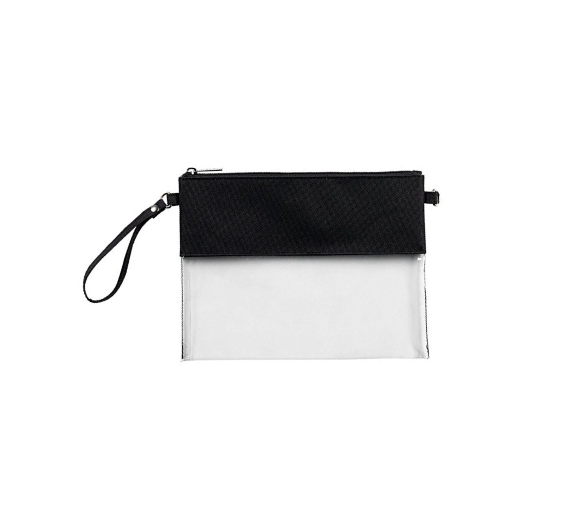 MONOBLANKS Clear Zip Pouch with Detachable Crossbody Adjustable Strap and Wristlet (Black)