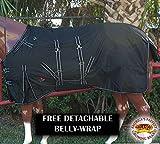 HILASON 78' 1200D Winter Waterproof Poly Horse Blanket Belly WRAP Black White