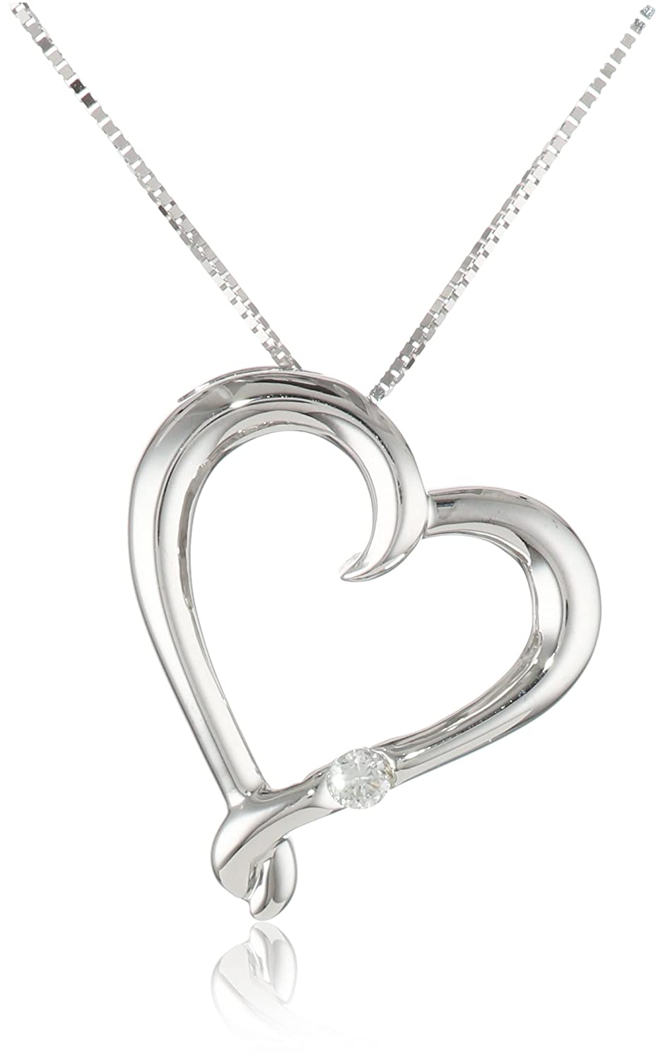 10k White Gold Heart with Diamond Pendant Necklace (0.03 cttw I-J Color, I2-I3 Clarity), 18""