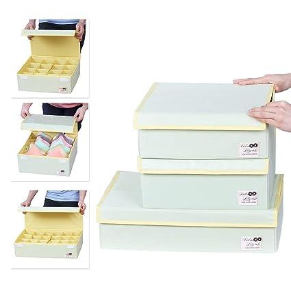 Sivin Pure verde plegable organizador del armario de almacenamiento Caja sujetador ropa interior cajón Divider,