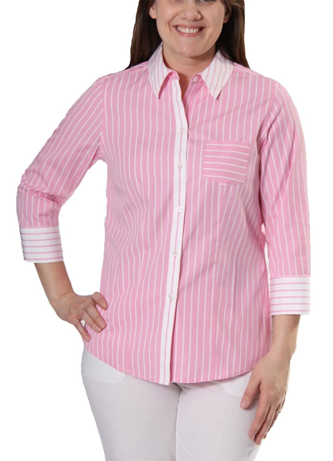 3/4 Sleeve Fitted Rorder Stripe Top in Pink By Foxcroft