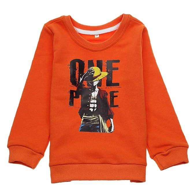 One Piece Cuello Redondo Manga Larga T-Shirt Clasicos Sencillas Camisetas Ocasionales Remeras Cuello Redondo Sudaderas para Niño y Niña: Amazon.es: Ropa y ...