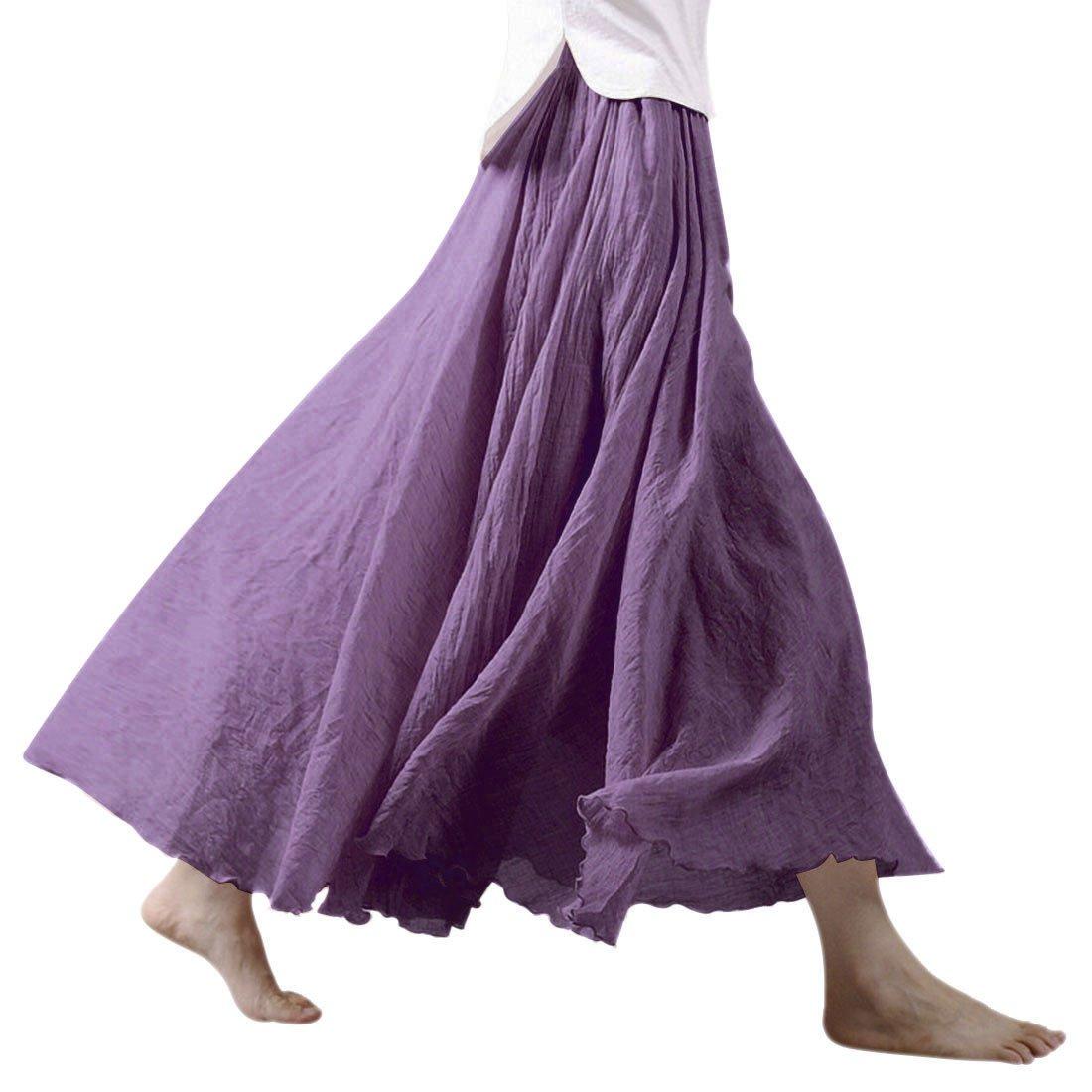 Ezcosplay Women Bohemian Cotton Linen Double Layer Elastic Waist Long Maxi Skirt (95CM, Lavender)