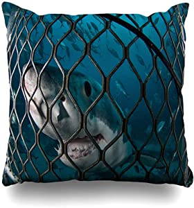 Throw Pillow Case Australia Underwater Great White Shark Andrew Nature Big Carcharias Carcharodon Diving Design Islands Home Decor Pillow Cover Square Zippered Pillowcase 18x18 Inch