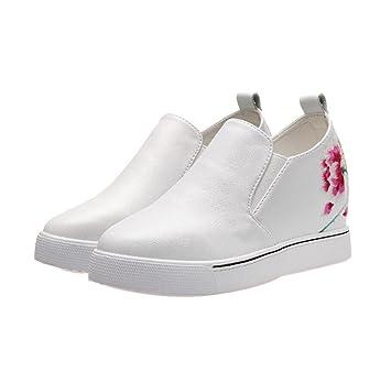GDXH Zapatos de Mujer Cuñas Ocultas Zapatillas de Deporte de tacón Deportivo Zapatillas de Deporte de Estilo étnico Bordado al Aire Libre Zapatos Casuales ...