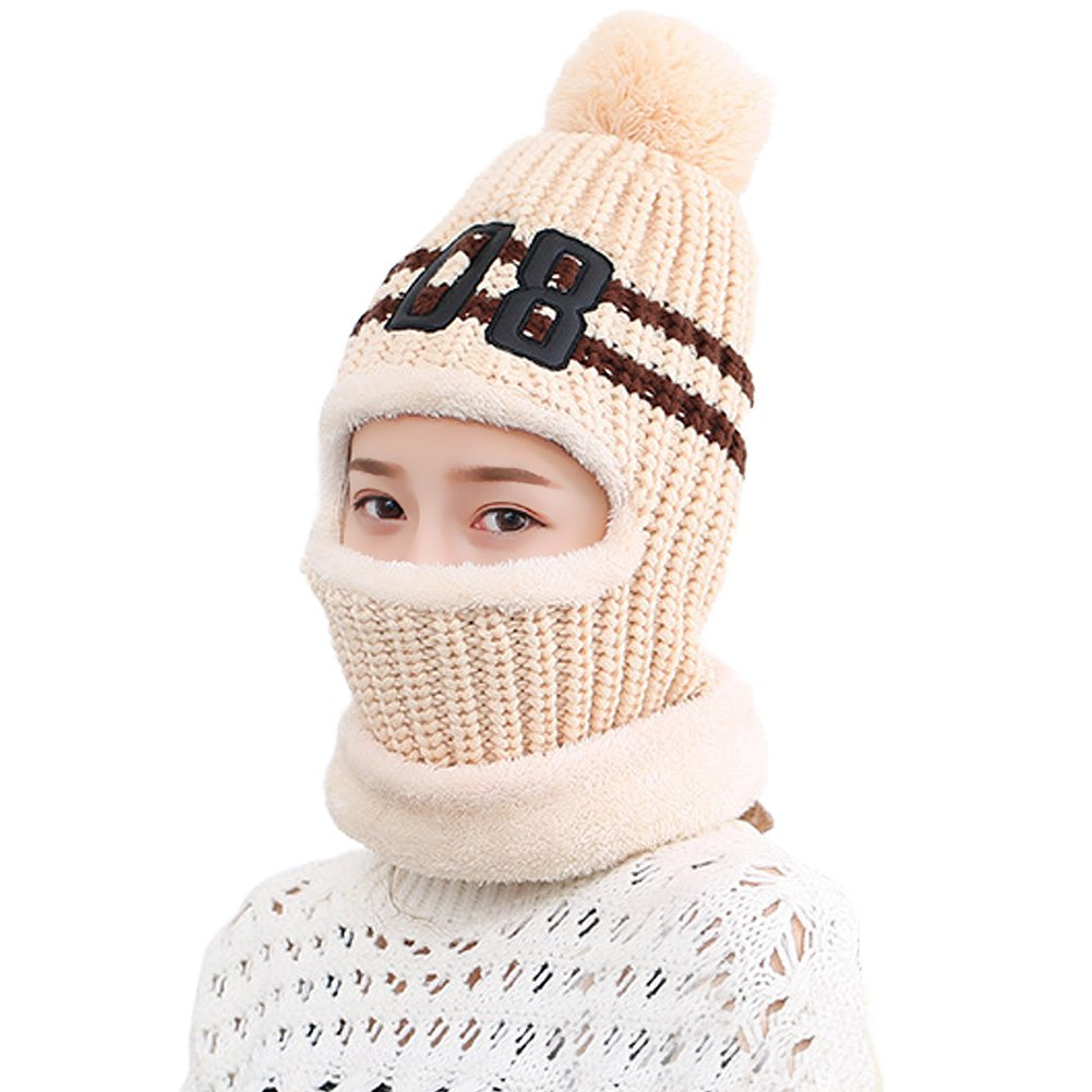 Vbiger Warm Winter Hat Knit Balaclava Face Mask with Soft Warm Fleecy Lining for Women Girls (Beige)