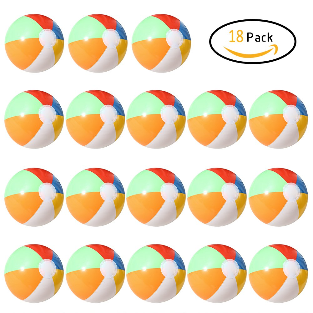 Lumiparty Inflatable Beach Balls(18PACK) 7.5'' Rainbow Colored Beach Balls Beach Balls Pool Party Toys Colorful Beach Balls Party Favors Perfect for Summer Parties Beach Sand & Water Or Swimming Pool by Lumiparty