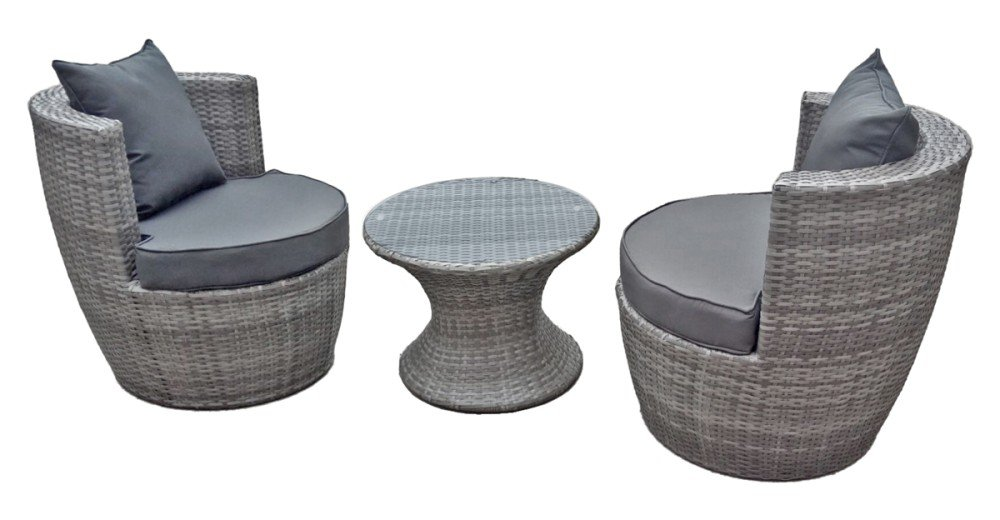 garden pleasure club set sitzgruppe garten sessel lounge tisch rattan optik grau g nstig online. Black Bedroom Furniture Sets. Home Design Ideas