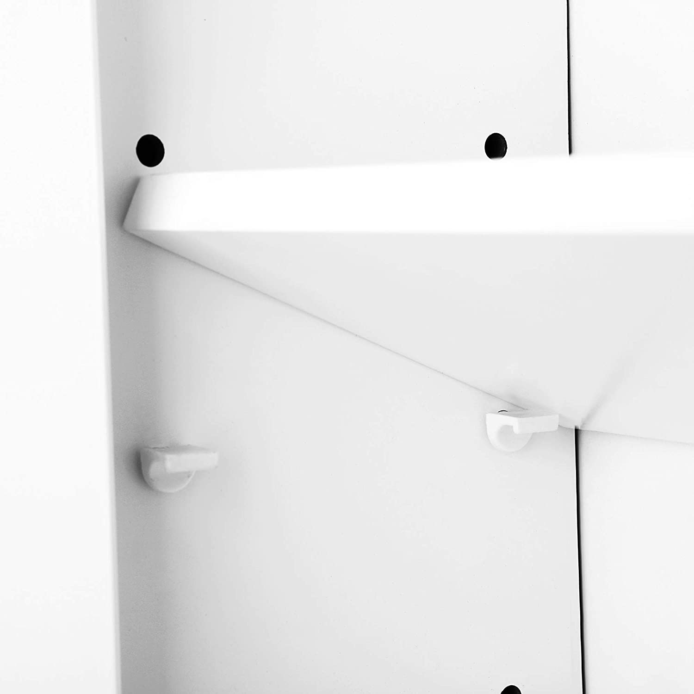Madera Armario para Medicamentos con Estante Ajustable y Puerta con Persiana Blanco BBC24WT Armario Colgante de Ba/ño VASAGLE Armario de Pared 40 x 16 x 60 cm