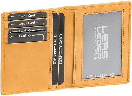 und Kreditkartenh/ülle Echt-Leder schwarz Card-Collection LEAS Ausweis