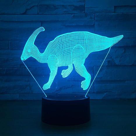 WSXYD Luz Nocturna Modelo De Dinosaurio Ilusión 3D Light 7 Color ...