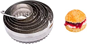 Pastry Tek 6-Piece Double-Sided Metal Fluted Round Cookie Cutter Set 1 count box - Restaurantware