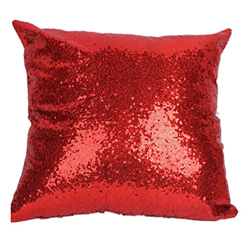 Needlepoint Chair Pad (Menglihua Stylish Comfy Soild Color Glitter Sequins Throw Pillow Case Cafe Home Decor Cushion Covers Red 15