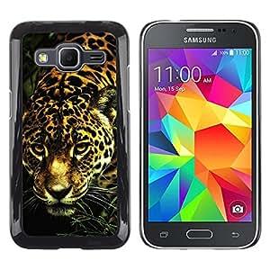 Leopard Patrón del guepardo del gato grande del animal de piel- Metal de aluminio y de plástico duro Caja del teléfono - Negro - Samsung Galaxy Core Prime