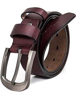 AmyKer Homme Ceinture pour cuir véritable avec boucle à ardillon, ceinture  résistante, brun noir 4614ee407f1