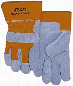 "Work Glove - Leather - Gray - 3"" Safety Yellow Canvas Cuff - 2XL - 1Pair"
