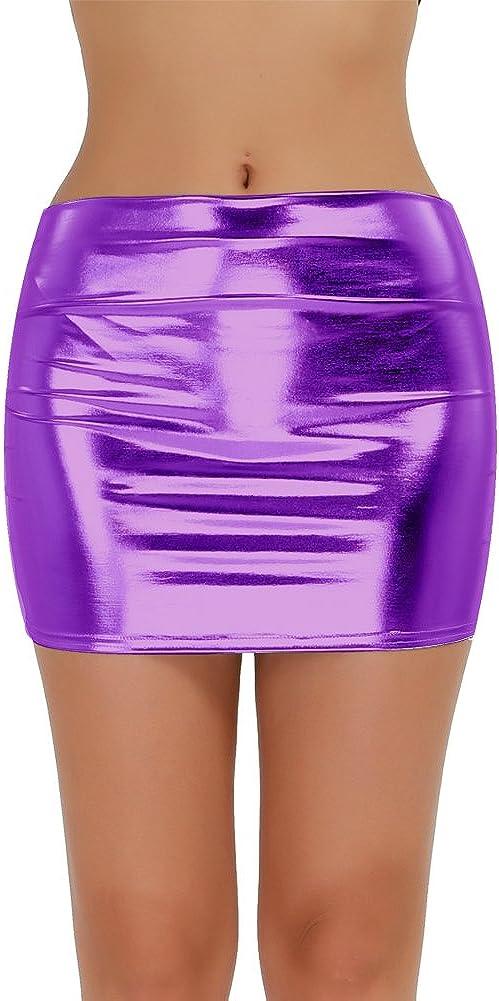 MSemis Womens Shiny Metallic Dress Bodycon Wet Look PVC Mini Skirts