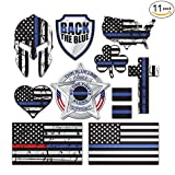 #10: SpeedSquare Tools 11-Pack Police Thin Blue Line Stickers | 100% Vinyl | Proudly MADE IN USA! Quality Decals for Patrol Car, Truck, Jeep, HydroFlask, Laptop, Gear | Display your American Flag!