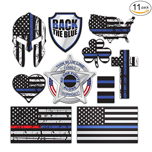 SpeedSquare Tools 11-Pack Police Thin Blue Line Stickers | 100% Vinyl | Proudly MADE IN USA! Quality Decals for Patrol Car, Truck, Jeep, HydroFlask, Laptop, Gear | Display your American - Badge Tool Blue