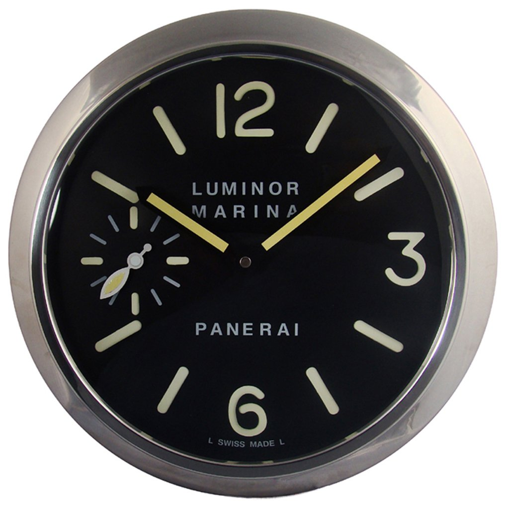 Panerai Luminous Silent Sweep Wall Clock, Silver+Black