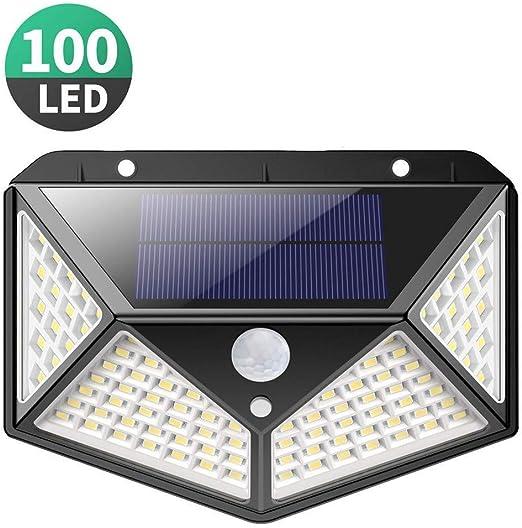 Luz Solar Exterior, Kilponen 100 LED Foco Solar Exterior Gran Ángulo 270° con Sensor de Movimiento 1800mAh Lámpara Solar Impermeable Solares de Pared de Seguridad 3 Modos para Jardín [1 Paquete]: Amazon.es: Hogar