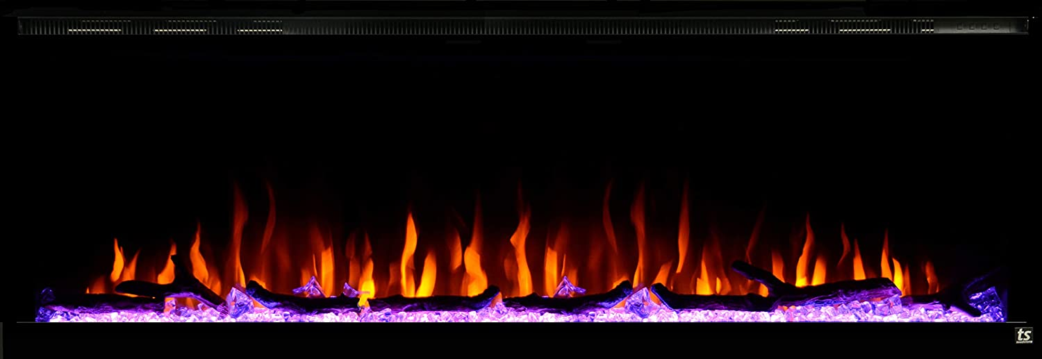 Touchstone 80037 - Sideline Elite Electric Fireplace - 60 Inch Wide - in Wall Recessed - 60 Color Combinations - 1500/750 Watt Heater (68-88°F Thermostat) - Black - Log, Crystals, and Driftwood