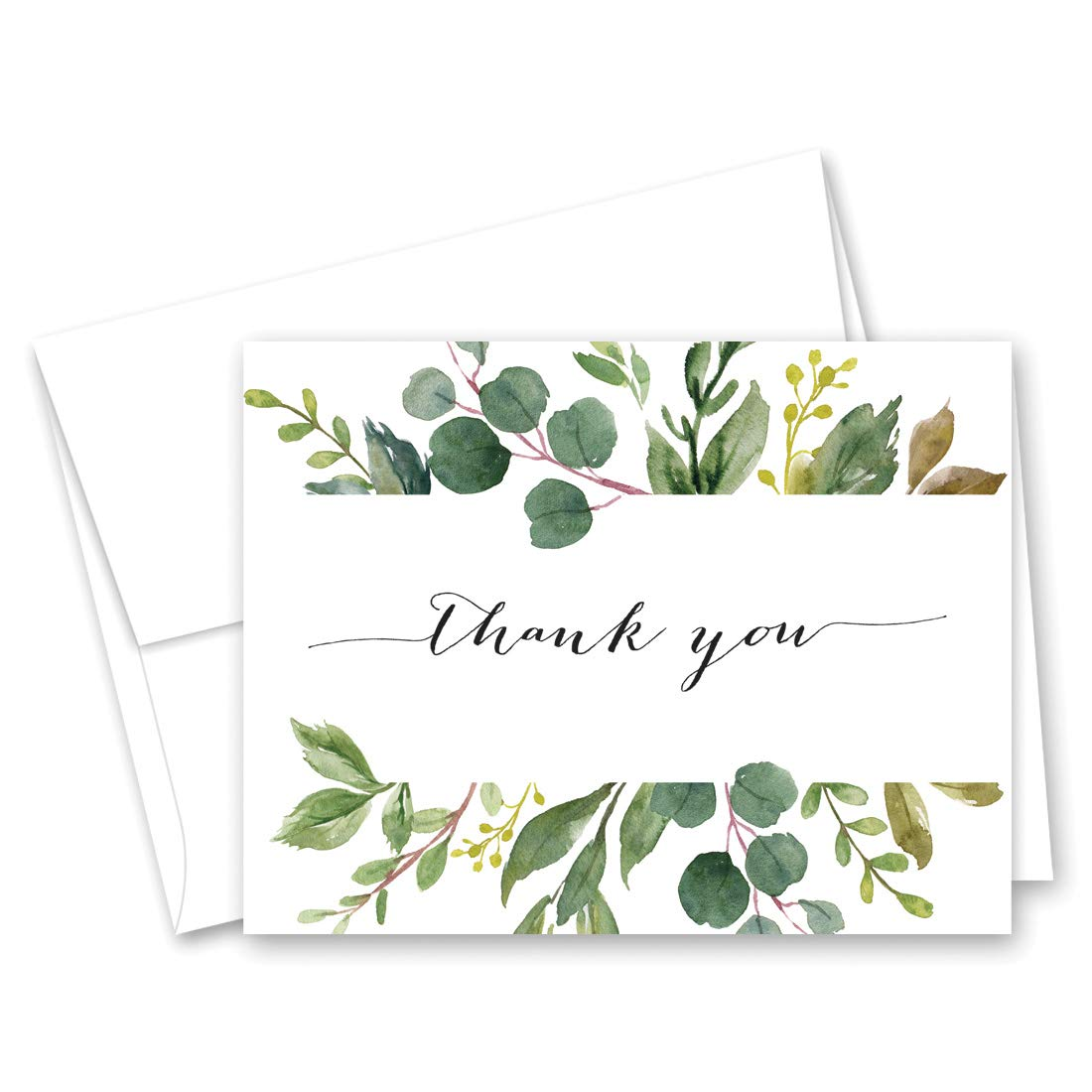 Greenery Leaves Thank You Cards (50)