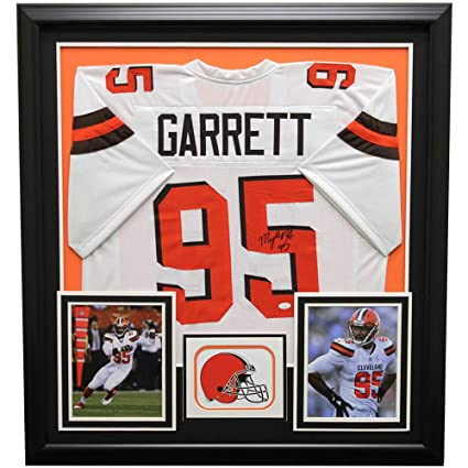 Myles Garrett Autographed Signed Cleveland Browns Framed White Custom Jersey  - JSA Certified Authentic ffb7d4524