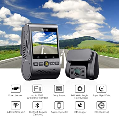 VIOFO Dash Cam A129 Duo Dual Channel 140 Wide Angle Wi-Fi Full HD 1080P Front and Rear Camera with GPS with 64GB SD Card Super Night Vision Support Wireless Remote Control, Parking Mode, G-Sensor