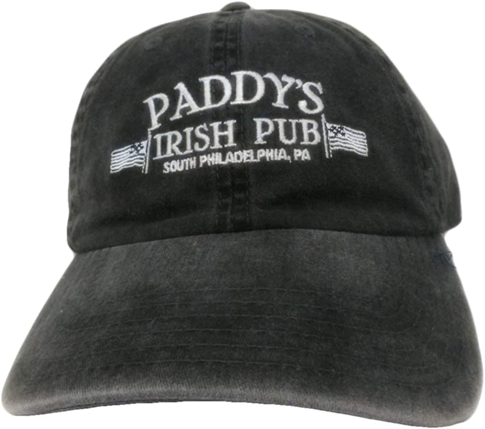 Ripple Junction Its Always Sunny in Philadelphia Adult Unisex Pattys Pub Pigment Dye Dad Hat Black