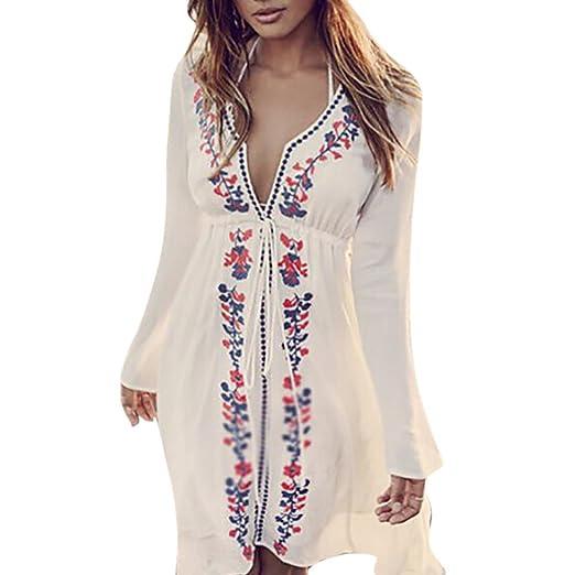 Tloowytm Beach Dress Hot Sale Women Summer Boho Long Sleeve V Neck