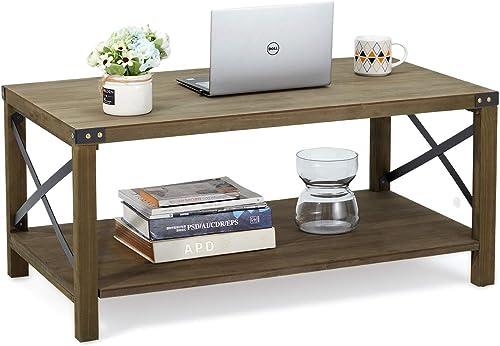 MELLCOM Industrial Coffee Table Wood Look Tea Table
