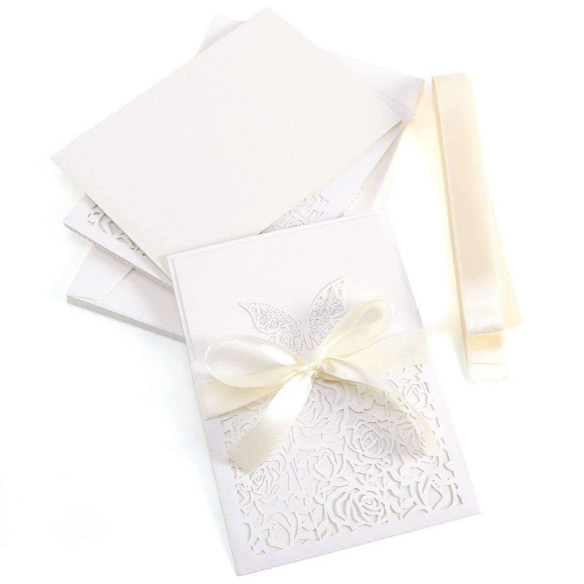 10x invitación boda dentenlle mariposa # 527con nudo de cinta y sobre tarjeta invitaciones color marfil + Crema