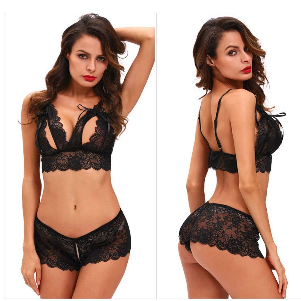 Ropa Interior Para Mujeres Sexy Monos De Encaje Negro Sujetador Del Pecho Desnudo Bikini Trajes De Encaje Transparente Uniforme De La Criada Babydoll Corsé ...
