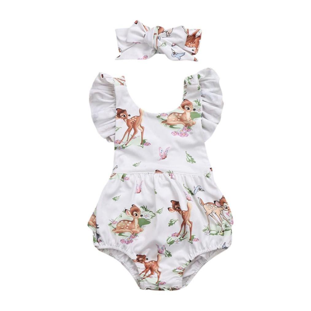 squarex For 0-18M Baby Romper Girl Clothes Christmas Deer Headband 2Pcs Set Outfit Beige, 6-12Months