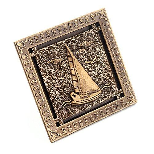 Antique Brass Sailboat - HARPOON Art Carved Antique Brass 4.7'' Shower Floor Waste Drain Cover Washer Floor Sink 12cm x 12cm Drain Dome Strainer (Sailboat)