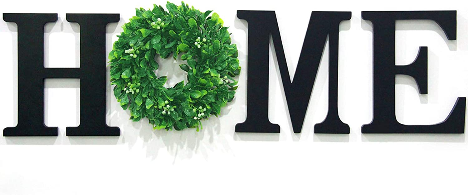 Wall Hanging Wood Home Sign,12 Inch Black Wooden Letters for Wall Decor ,Home Signs Wall Letters with Green Wreath
