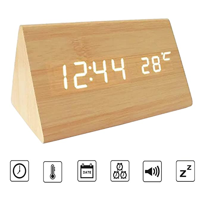 Amazon.com: Bioeilife Wooden Alarm Clock, Triangle USB Digital Alarm Desk Clock With Time Temperature And Voice Control (Black(White LED)): Home & Kitchen