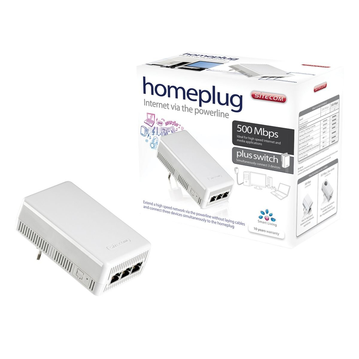 Sitecom Homeplug 500 Mbps plus switch - Accesorio de red (Alá mbrico, RJ-45, Ethernet, 500 Mbit/s, IEEE 802.3, BPSK, QPSK) Color blanco LN-509