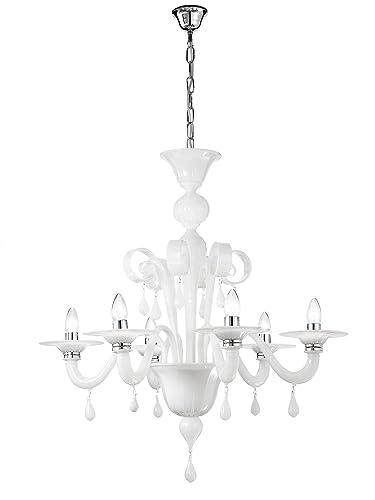 ROSSINI ILLUMINAZIONE a.10470 - 40-LED lámpara de techo de cristal Murano E14, 42 W, blanco