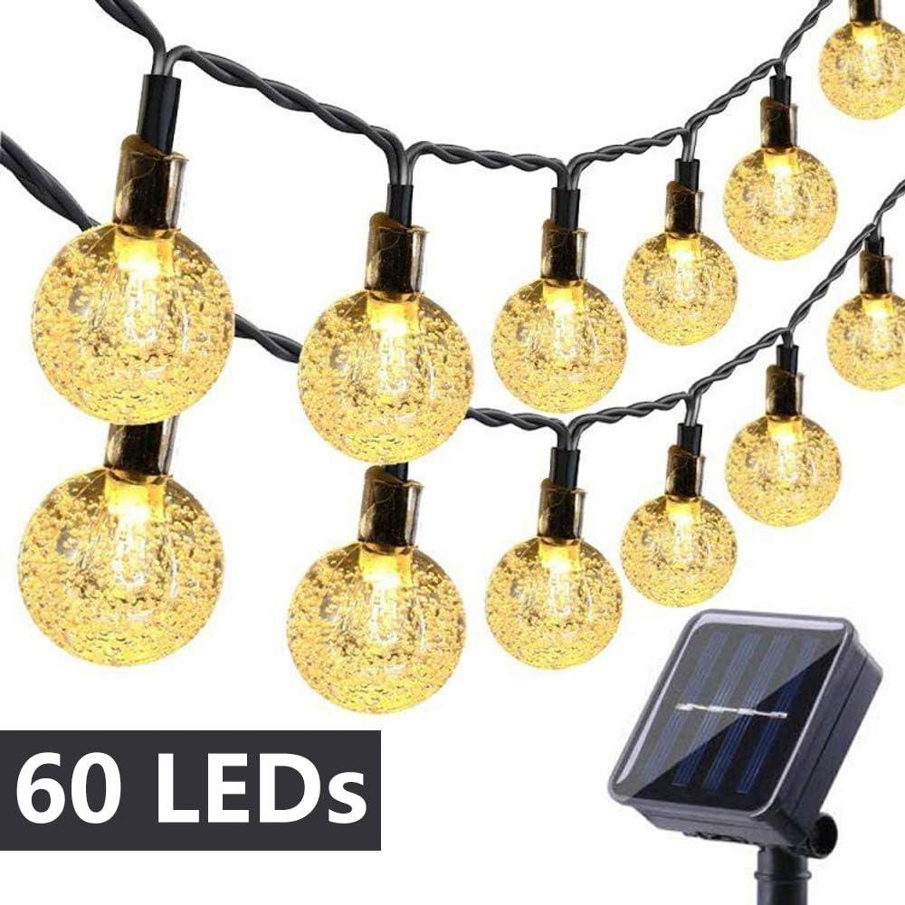 Toodour Globe Solar String Lights, 35.6ft 60 LED Outdoor Bulb String Lights,Waterproof 8 Modes Solar Patio Lights for Patio, Garden, Gazebo, Yard, Outdoors (Warm White)