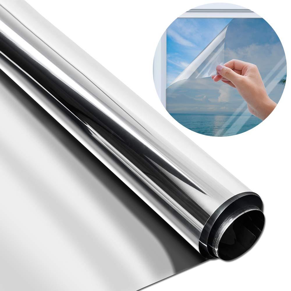 Pellicola oscurante per specchi e finestre 45x200 cm Protezione Privacy per Ufficio E Casa YQHbe Colore Argento Effetto Specchio Riflettente Protezione Anti-UV e Controllo del Calore