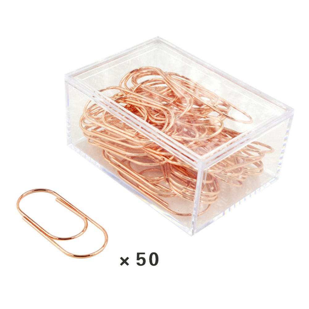 ieasysexy Europe and The United States Golden Paper Clip Office Material Storage Clip Creative Large Metal Bookmarks¬50 Units for a Box (Rose Golden)