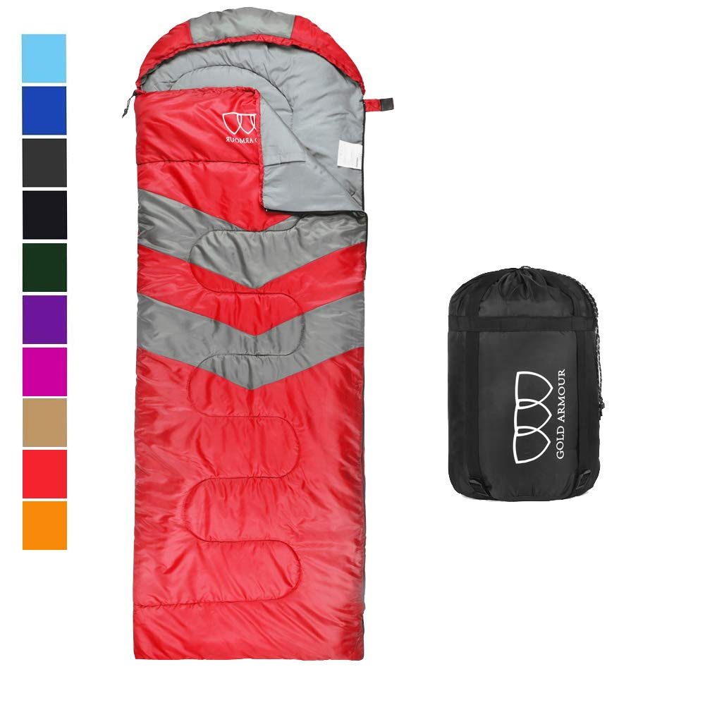 Sleeping Bag - Sleeping Bag for Indoor & Outdoor Use - Great for Kids, Boys, Girls, Teens & Adults. Ultralight and Compact Bags for Sleepover, Backpacking & Camping (Red / Gray - Left Zipper) by Gold Armour