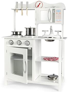 Leomark Cocina Madera Infantil Cocina de Juguete Accesorios Para Niñas 60x30x85 Artículos Metálicos Estilo Escandinavo Clásico